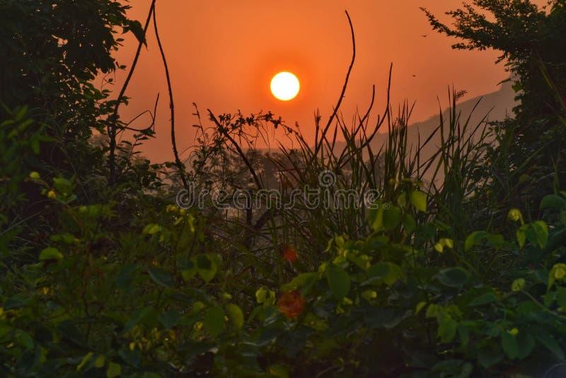 Rising Sun. A beautiful view from Rasayani Maharashtra India stock photography