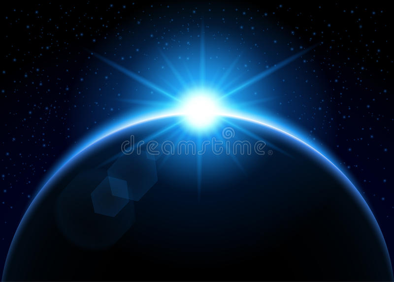 Rising sun behind the planet - blue stock illustration