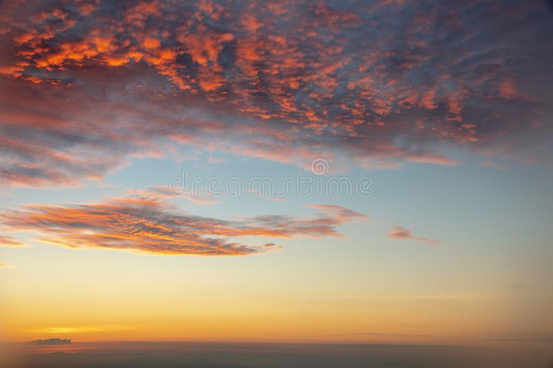 Rising sun blue sky with orange cloud in the morning.  royalty free stock photo