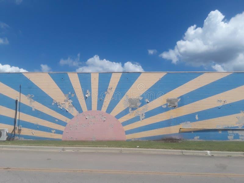 Rising sun China graffiti art de rue peint au Japon image libre de droits