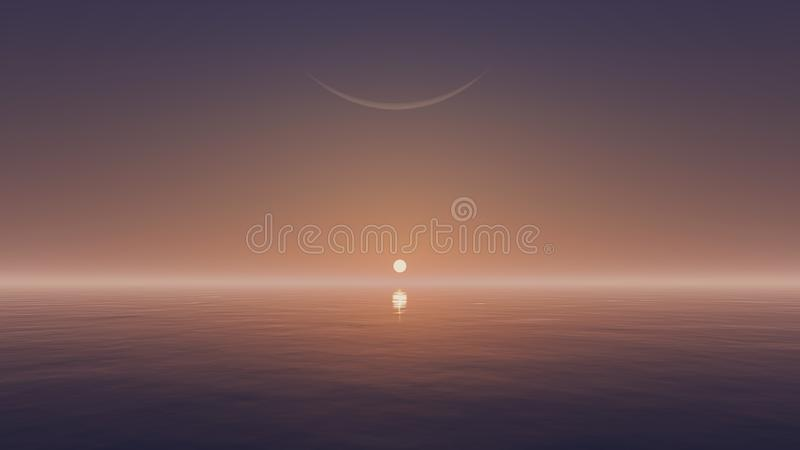 Rising sun and crescent above water surface. Cloudless sky with a rising sun and half moon above mirror water surface vector illustration