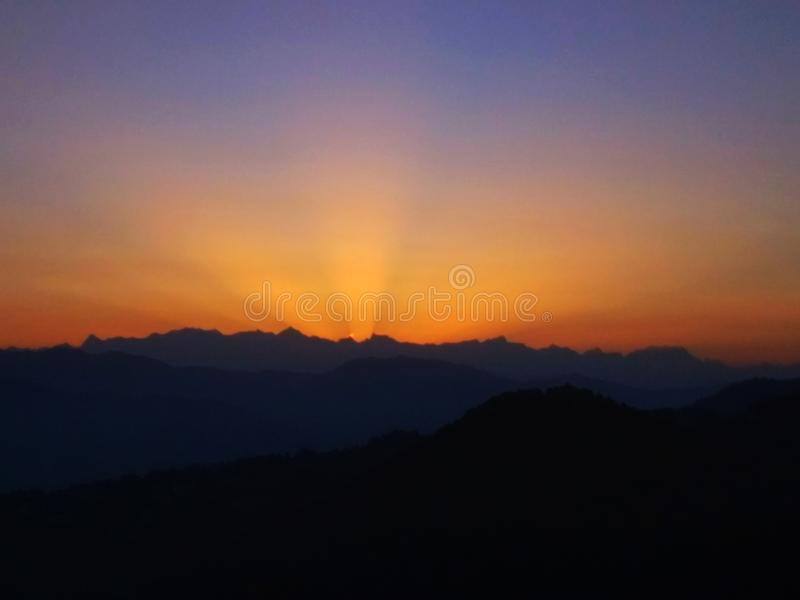 The rising sun dehradun, india. The rising sun picture clicked early morning in  dehradun, india stock photos