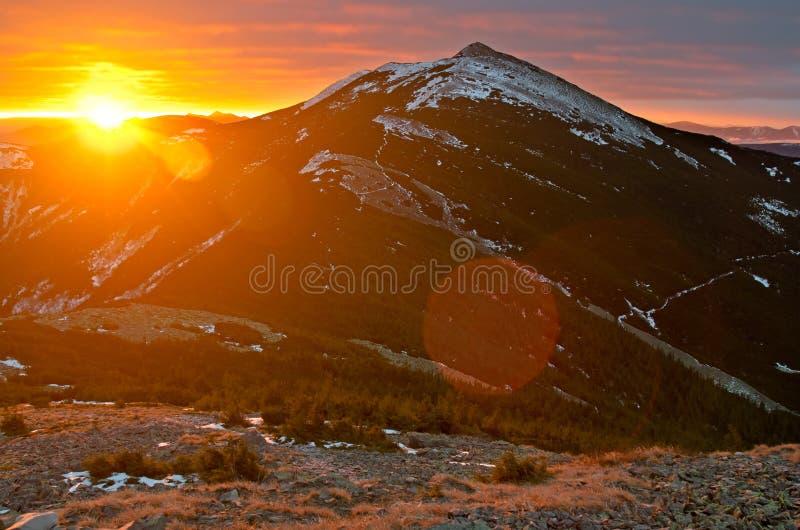Rising sun in Gorgany mountains. Carpathians. Ukraine stock photo