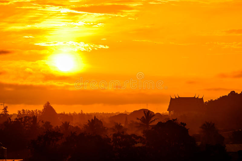 Rising sun in the morning. stock photography