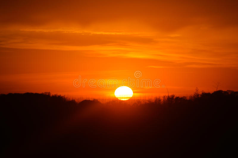 Rising sun. With orange sky in the background stock photography