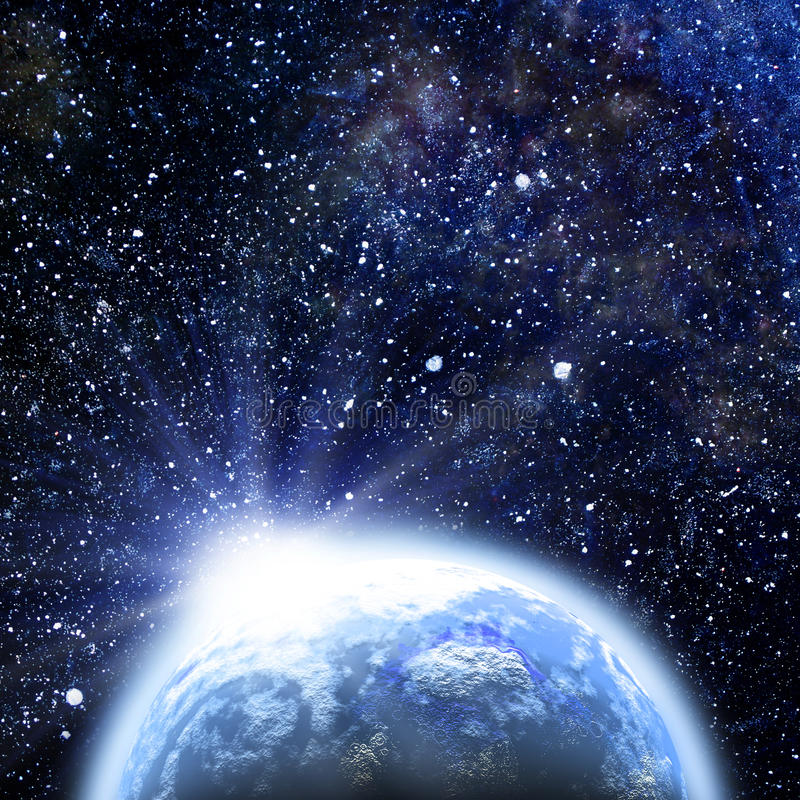 Download Rising Sun Over The Earth Planet Stock Illustration - Image: 26246928