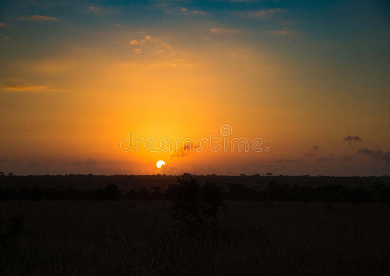 The rising sun over the Kruger-National Park. South Africa stock images