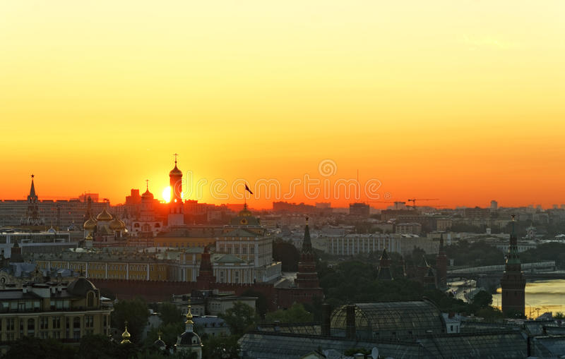 Rising sun over Moscow Kremlin. On summer royalty free stock images