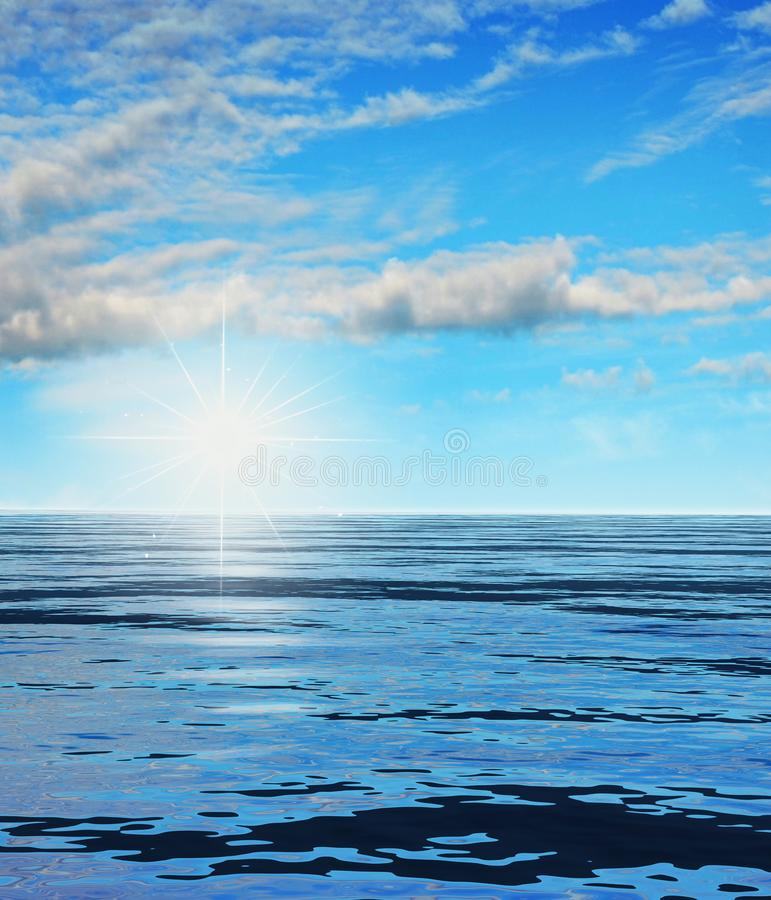 Rising Sun over a Ocean Landscape. Ilustration of a rising shining sun across the ocean, 3d render royalty free stock image