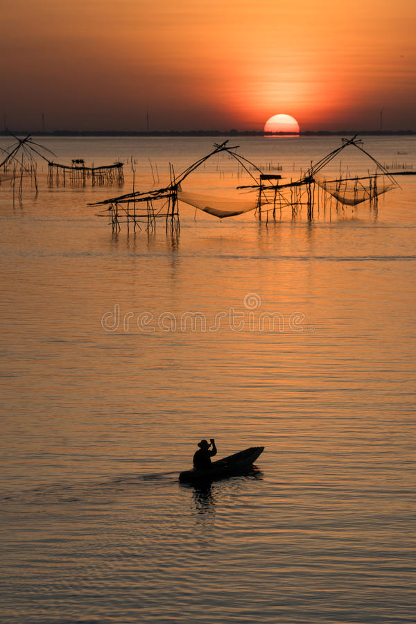 The Rising Sun of Pakpra. The Rising Sun of Pakpra, Phatthalung, Thailand royalty free stock photography