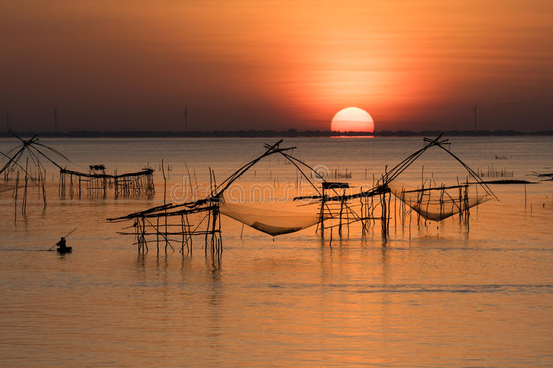 The Rising Sun of Pakpra. The Rising Sun of Pakpra, Phatthalung, Thailand royalty free stock images