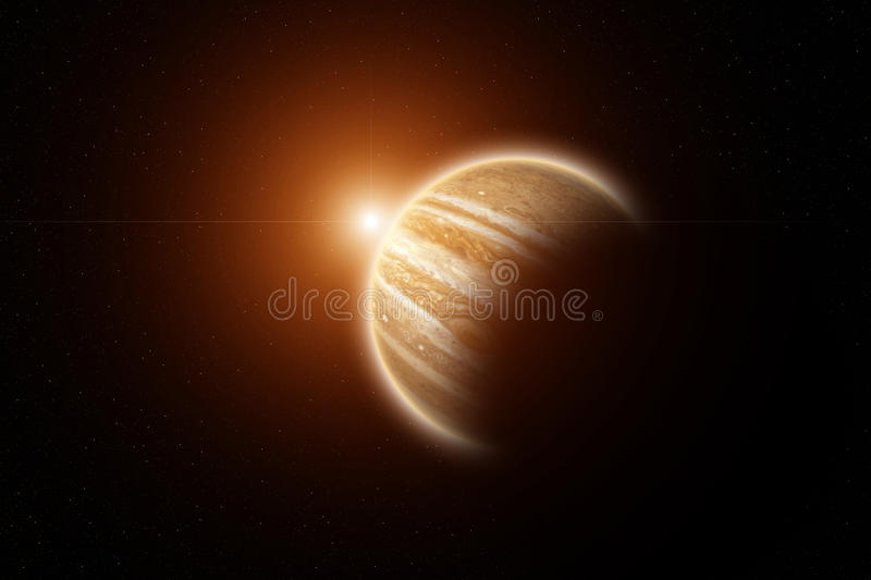 Rising Sun on Planet Jupiter with stars on background royalty free stock photography