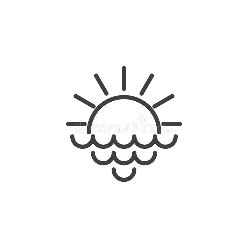 Rising sun with rays and sea waves outline icon stock illustration