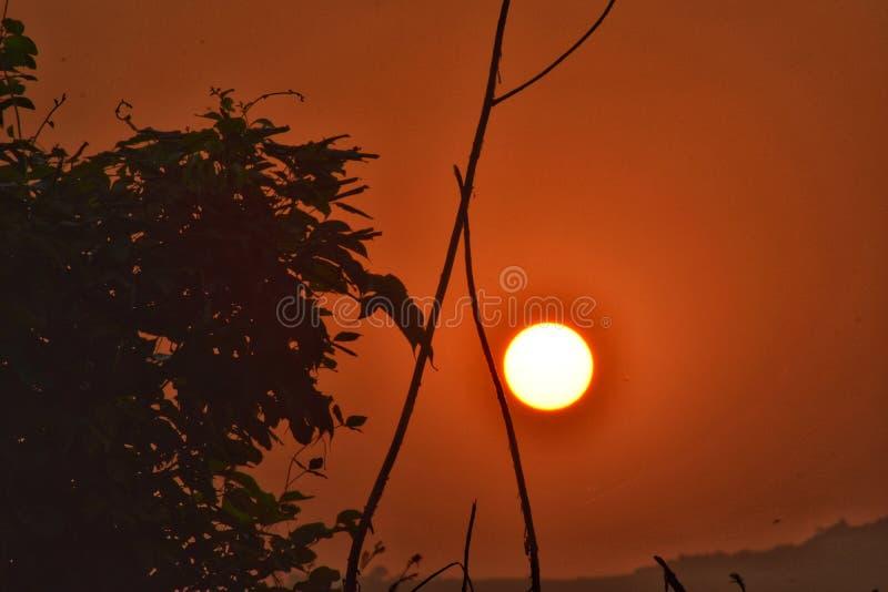 Rising Sun. A beautiful view from Rasayani Maharashtra India royalty free stock photos