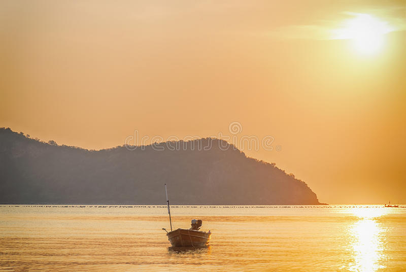 Rising sun with seascape. Morning twilight cloudscape, landscape stock photography
