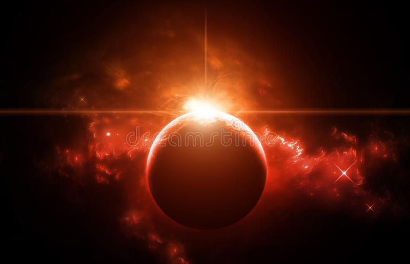 Rising Sun in space Nebula stock photography