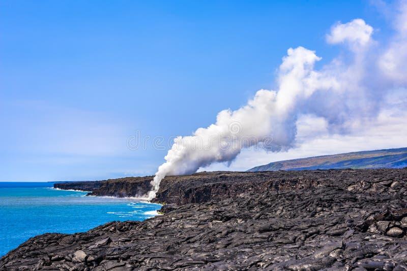 Rising volcanic steam stock photo