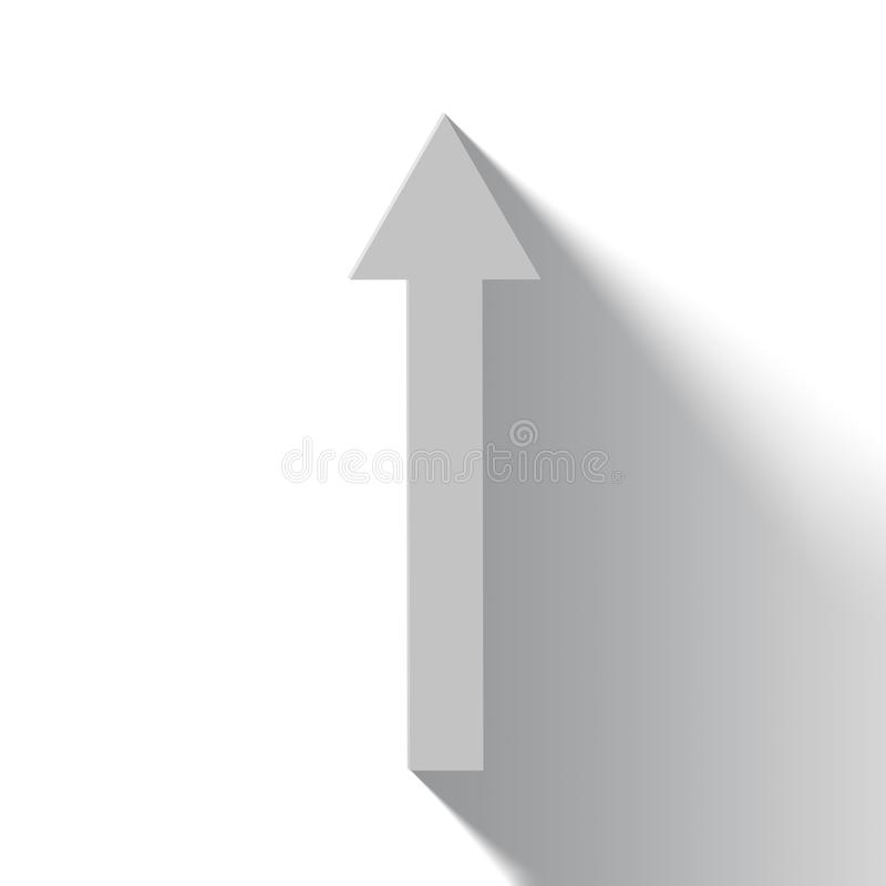 Rising white arrow on white background with shadow royalty free illustration
