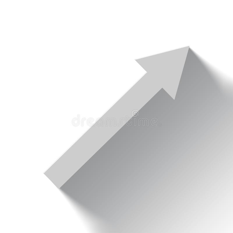 Rising white arrow on white background with shadow stock illustration