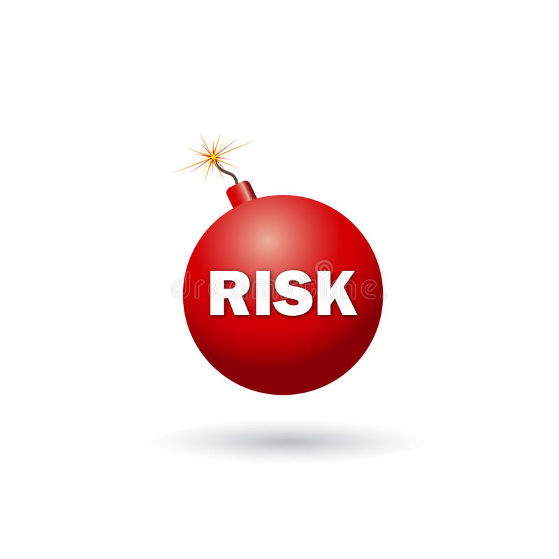 Risk. Red Risk Bomb on the isolated background vector illustration