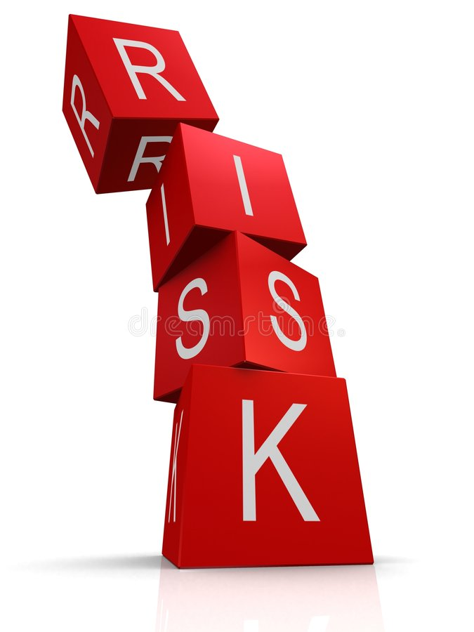 Risk. 3d rendered illustration of red cubes with the word risk