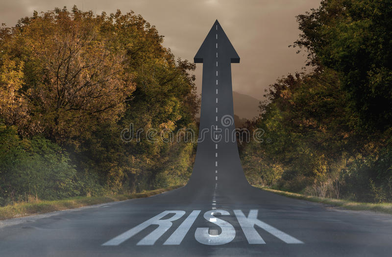 Risk against road turning into arrow vector illustration