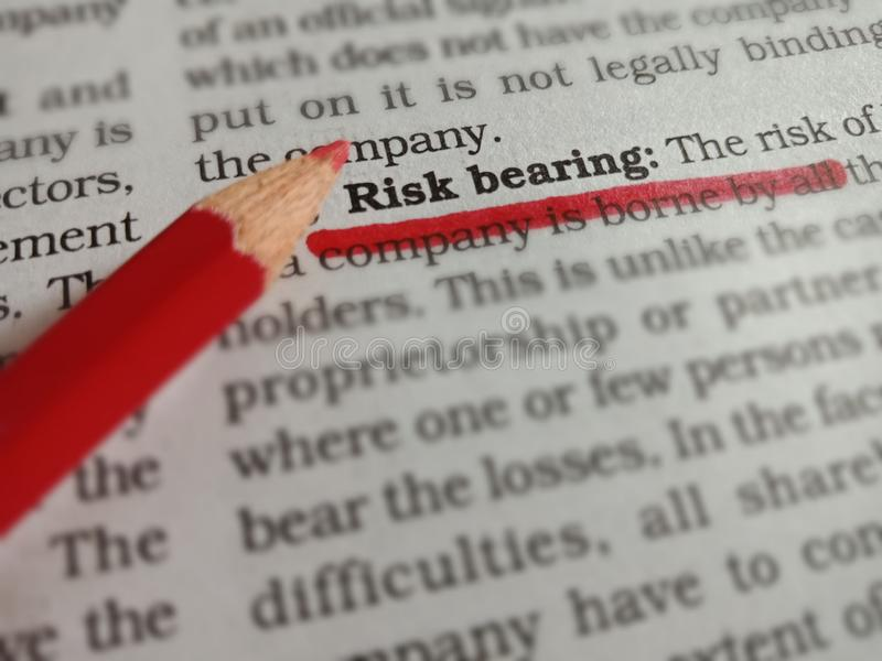 risk bearing business related terminology displayed on red colour underline text form royalty free stock images
