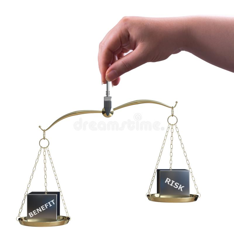 Risk and benefit balance. The woman holding scale with risk and benefit balance concept stock illustration