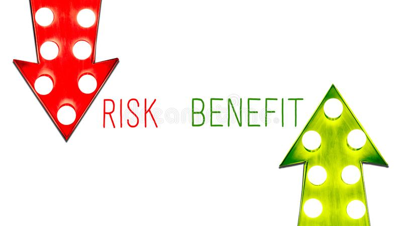 Risk benefit red and green left right up down vintage retro arrows illuminated light bulbs. Concept advantages disadvantages royalty free illustration