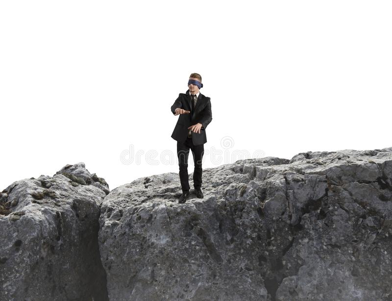 Risk in business. Concept of risk in business with blind businessman stock photography