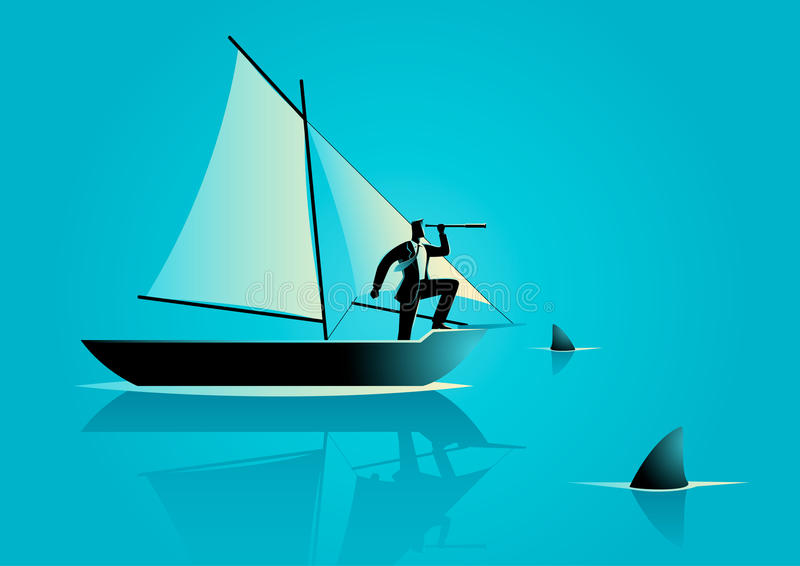 Risk in business. Concept illustration of a businessman on a sailing boat with sharks around him. Risk in business and business challenge concept stock illustration