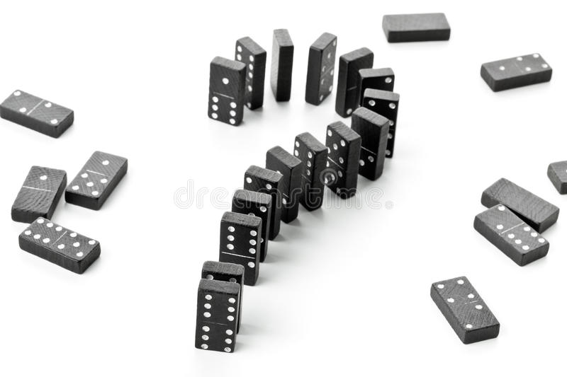 Risk, challenge or uncertainty concept - domino game stones form stock image