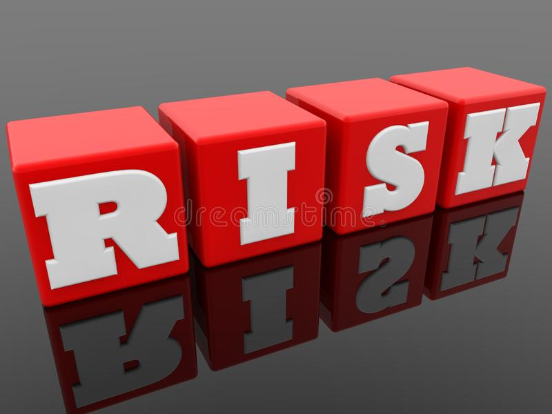 Risk concept on red cubes on black background. In background royalty free illustration