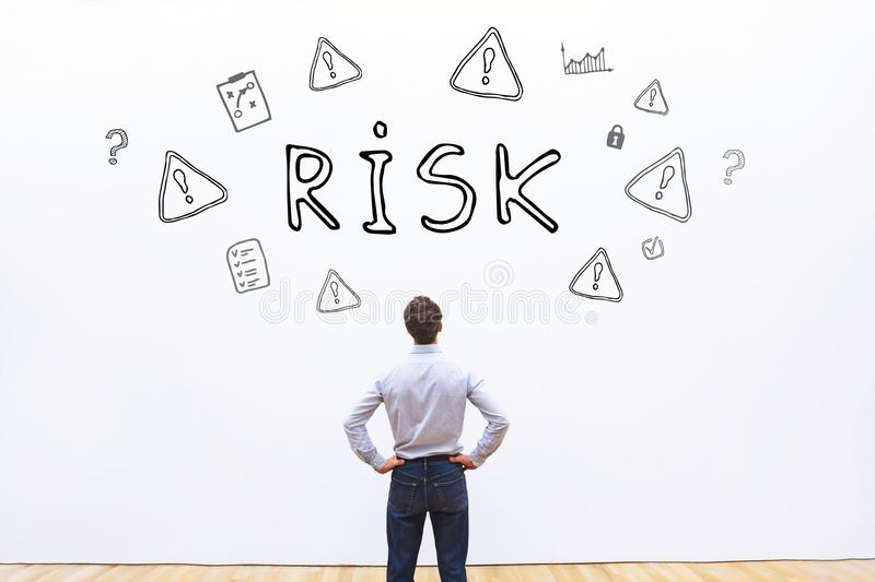 Risk concept. Word written on white wall background royalty free stock image