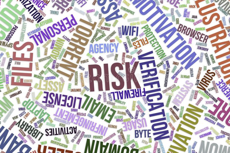 Risk, conceptual word cloud for business, information technology or IT. royalty free illustration