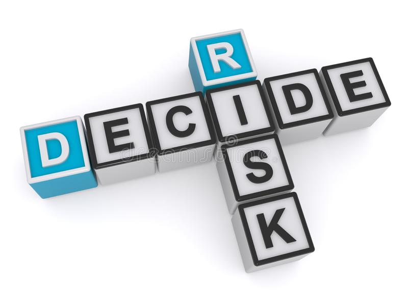 Risk decide heading. Risk decide crossword heading isolated on white royalty free illustration