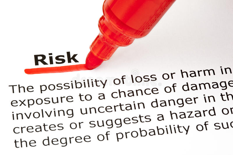 Risk Definition. Definition of the word Risk, underlined with red marker stock photo