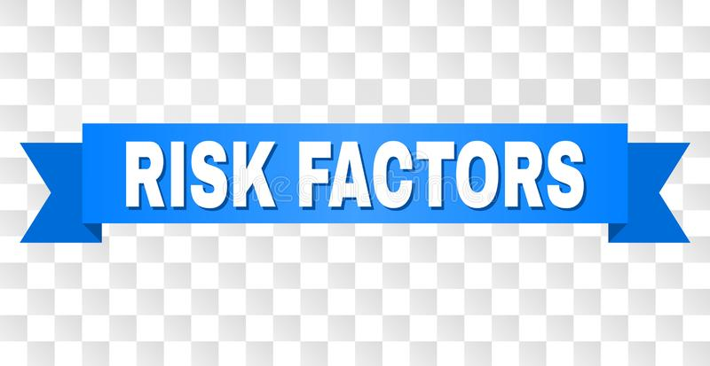 Blue Stripe with RISK FACTORS Caption. RISK FACTORS text on a ribbon. Designed with white caption and blue stripe. Vector banner with RISK FACTORS tag on a vector illustration