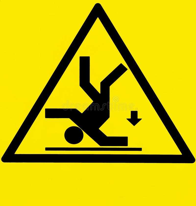 Risk of falling, warning sign with the silhouette of a man upside down and an arrow pointing down.  stock illustration