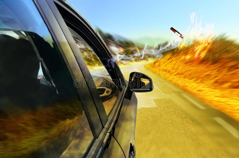 Risk of fire. Car on a road, under the hot summer sun. Somebody throws a lit cigarette through the open window. Abstract presentation of the risk and vector illustration
