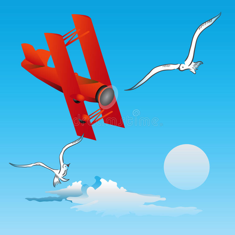 Download Risk of Flight - birds stock vector. Image of ship, airplane - 26082446