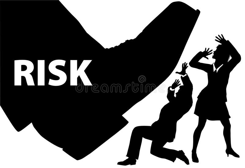 Risk foot step on uninsured business people stock illustration