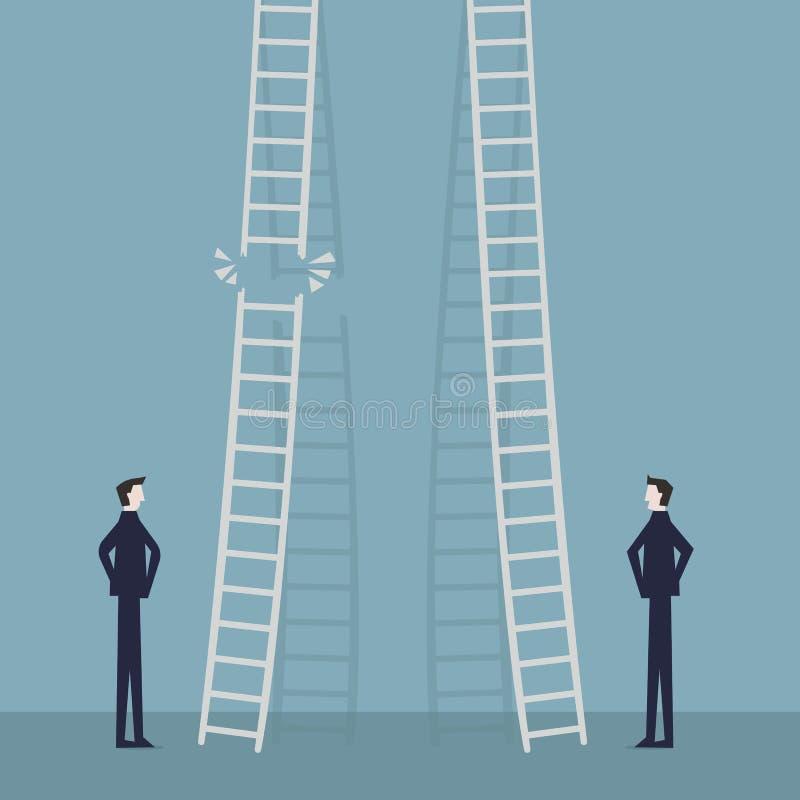 Risk i karriärbefordranbegrepp Två affärsmän som står och klättrar företags stegar Affärsidé av jobbframsteg stock illustrationer