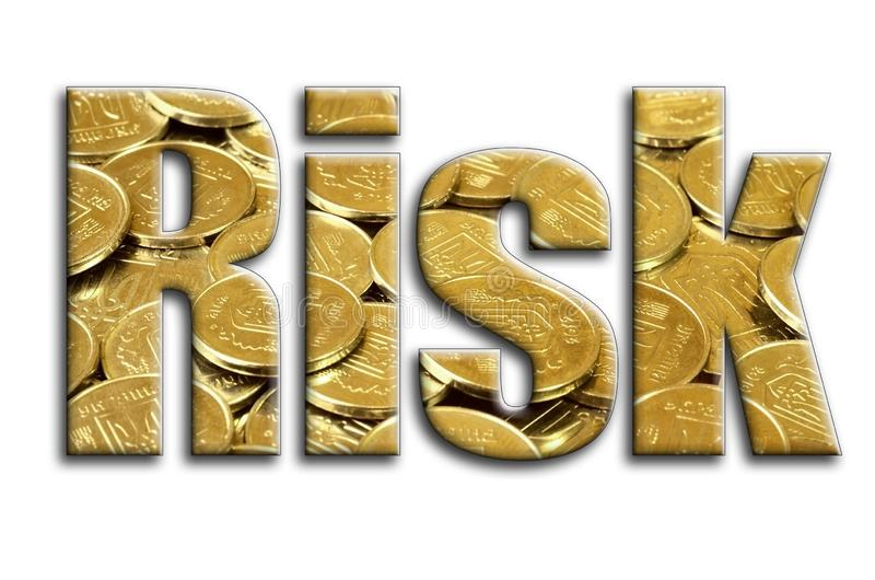 Risk. The inscription has a texture of the photography, which depicts a lot of ukrainian coins.  royalty free illustration