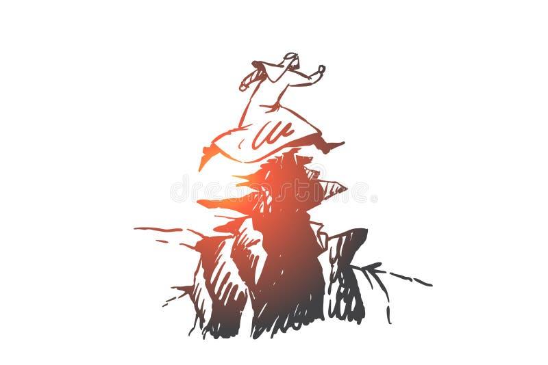 Risk, leadership, startup concept sketch. Hand drawn isolated vector illustration vector illustration