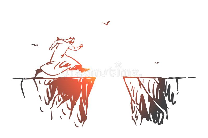 Risk, leadership, startup concept sketch. Hand drawn isolated vector illustration royalty free illustration