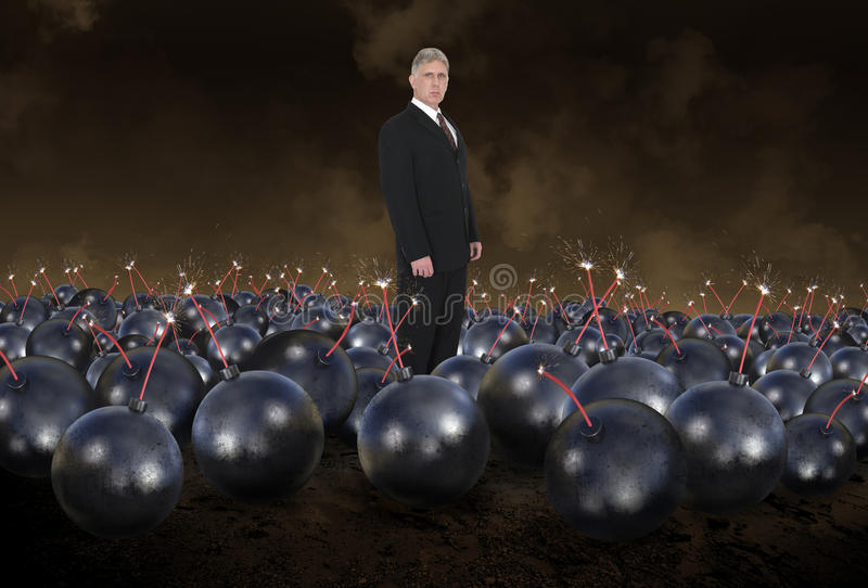 Risk Management, Business, Sales, Marketing. Abstract concept of a businessman standing in a minefield with bombs and explosives. Can be used for risk management stock image