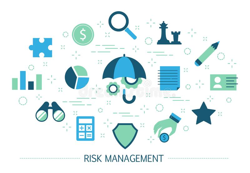 Risk management concept. Idea of business strategy stock illustration