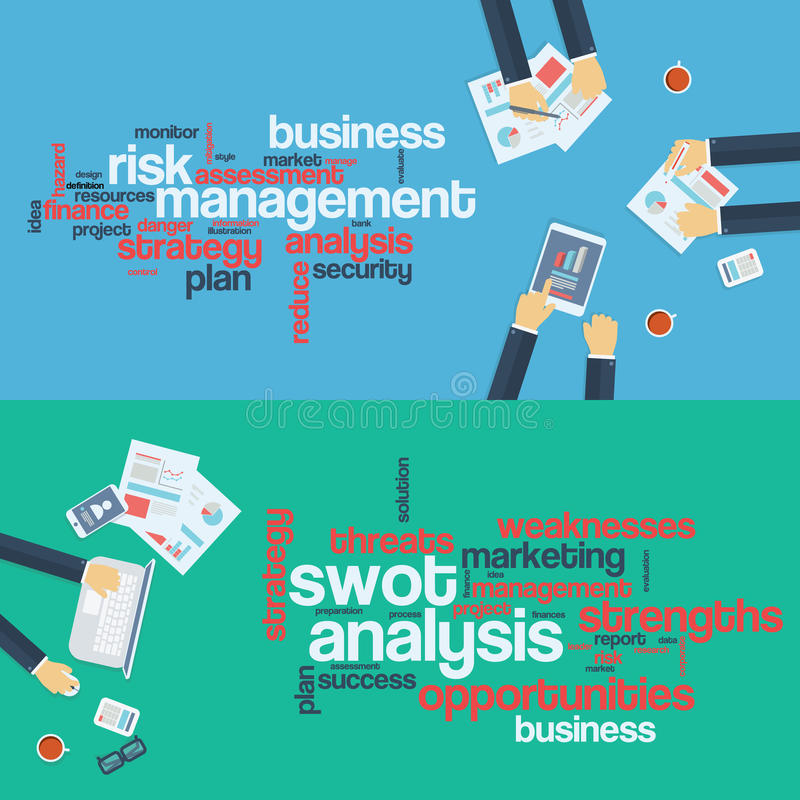 Risk management concept. Swot analysis. Business royalty free illustration