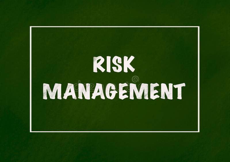Risk management. Background Concept,Chalk drawing on green chalkboard royalty free stock photo
